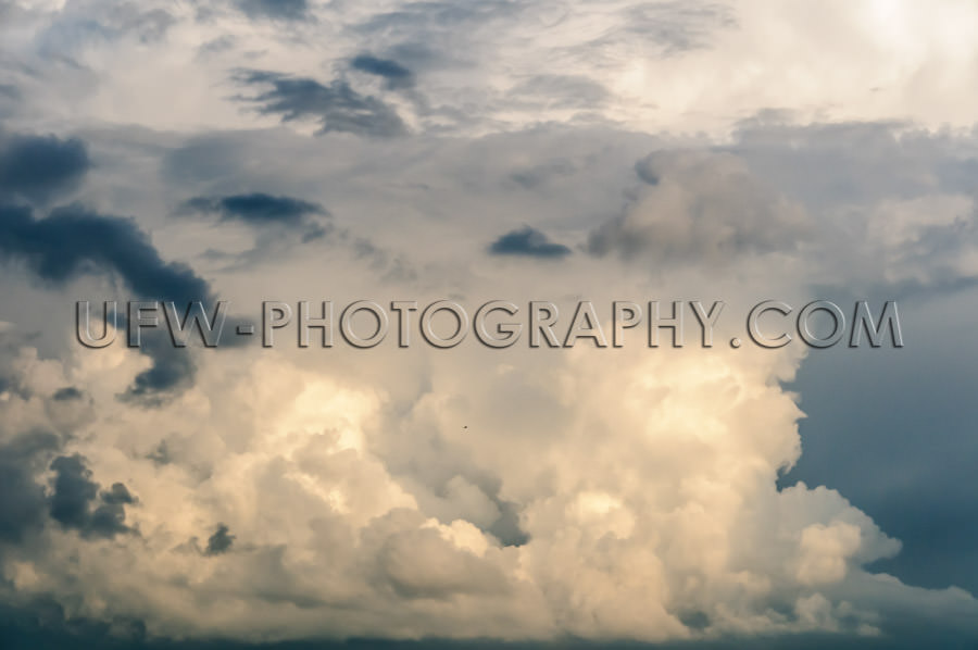 Dramatic cloudscape large towering cumulus clouds Stock Image