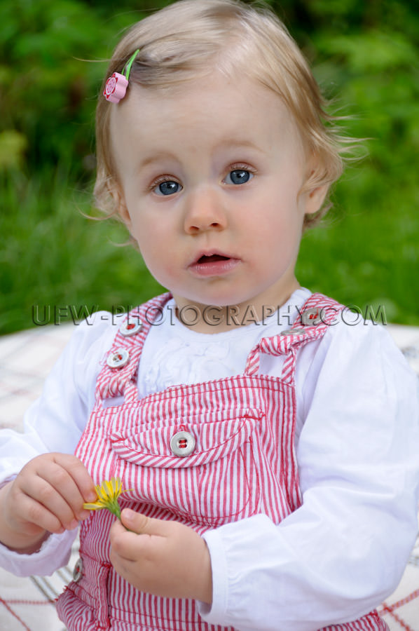 Cute little girl sitting garden dandelion flower looking camera