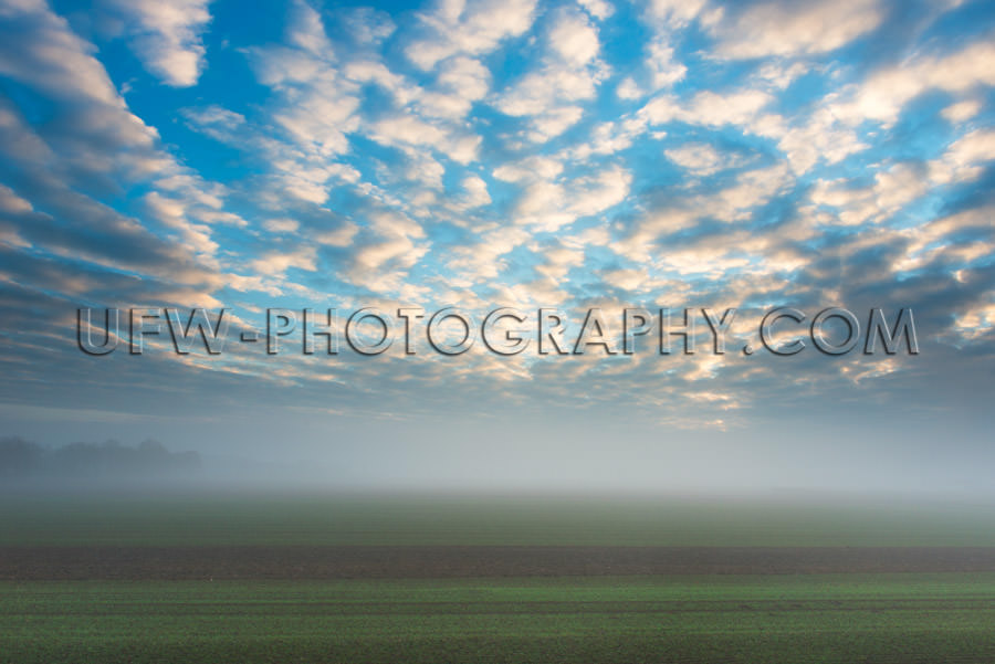 Autumn mood foggy field morning sunny clouds blue sky Stock Imag