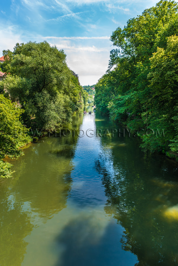 River summer riverside lush trees diminishing perspective Stock