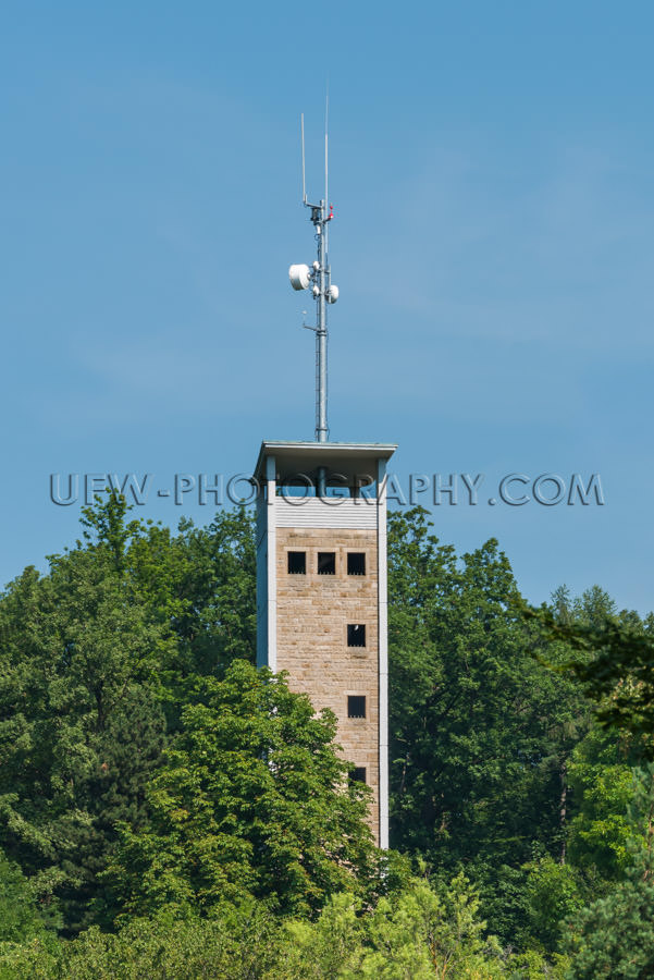 Telecommunication mobile phone antenna lookout tower forest Stoc