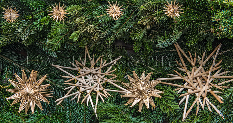 Christmas decoration fresh fir branches nice straw stars Stock I
