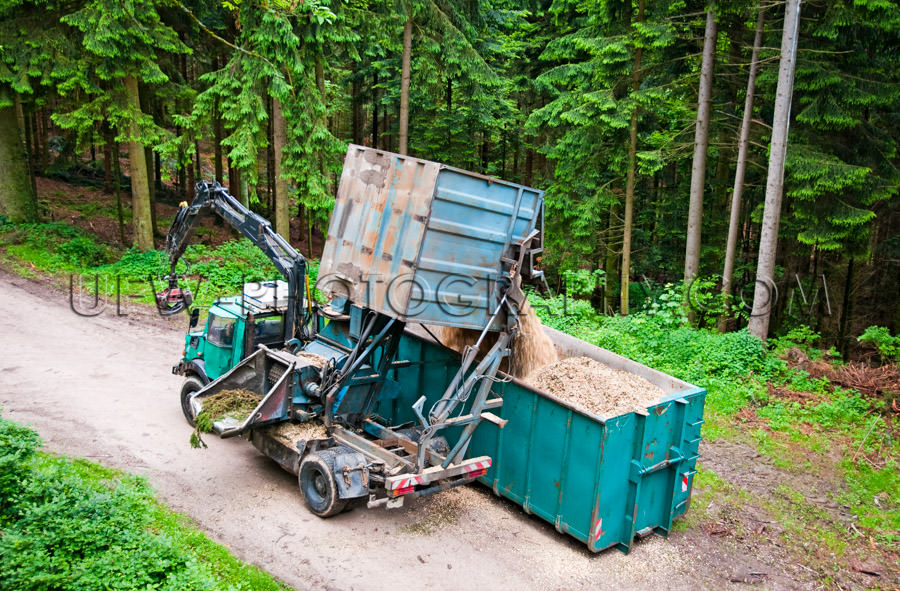 Tree chipper truck wood chips dumper forestry logging forest tra