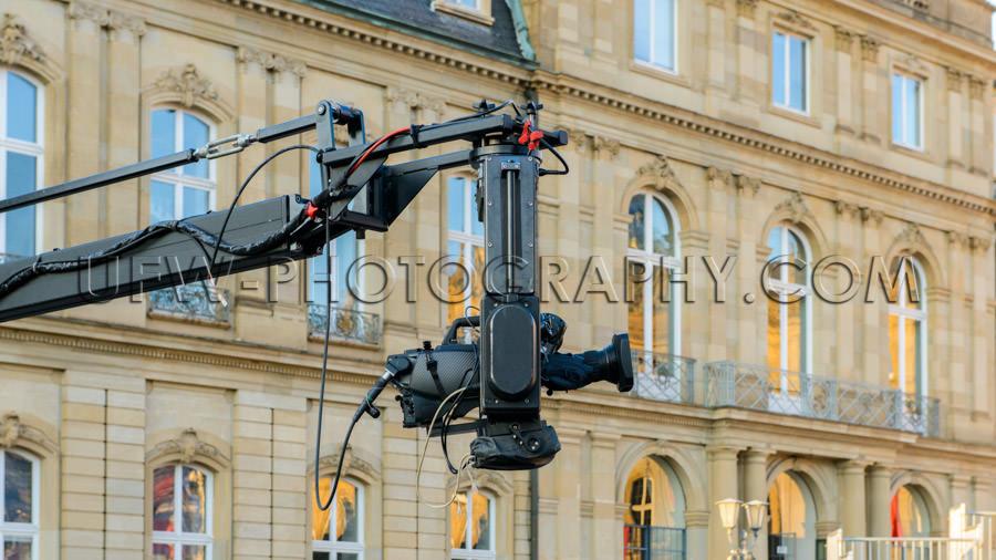 TV movie camera crane jib set production palace facade window St