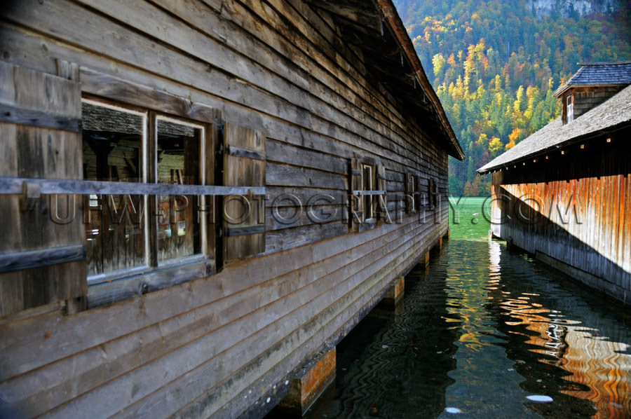 Lake view between two boathouses diminishing perspective Stock I