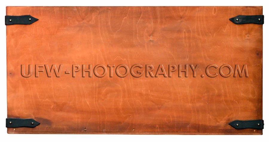 Braun Holz Textur Eisenbeschläge Brett Vollformat Isoliert Wei