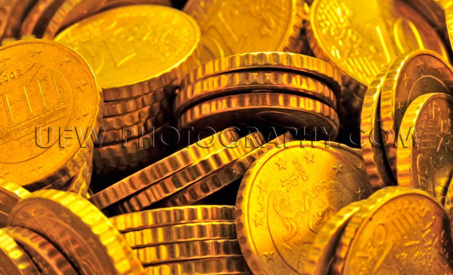 Stapel Glänzender Goldener Münzen Nahaufnahme Vollformat Stock