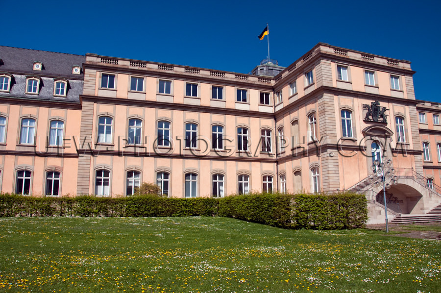 Frühling Wiese Blüten Burg Tiefblauer Himmel Stock Foto