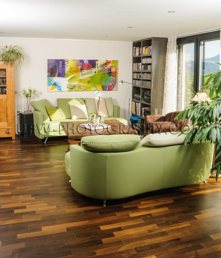 Modernes Wohnzimmer Parkett Sofa Tisch Gemälde Bücherregal Sto