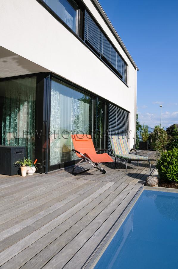 Zeitgenössisch Architektur Modern Haus Pool-Deck Im Freien Stoc