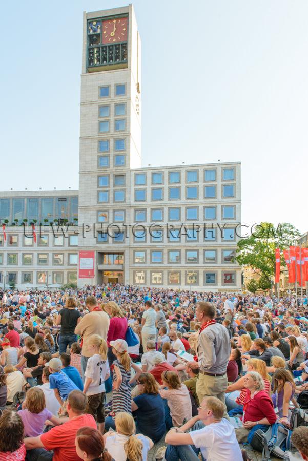 Kongress Im Freien Menschenmenge Zusammenkunft Rathaus Stock Fot