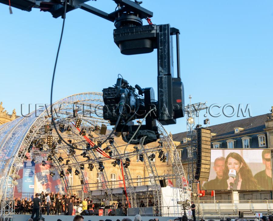 Konzert Bigband Im Freien Bühne Fernsehkamera Kamerakran Monito