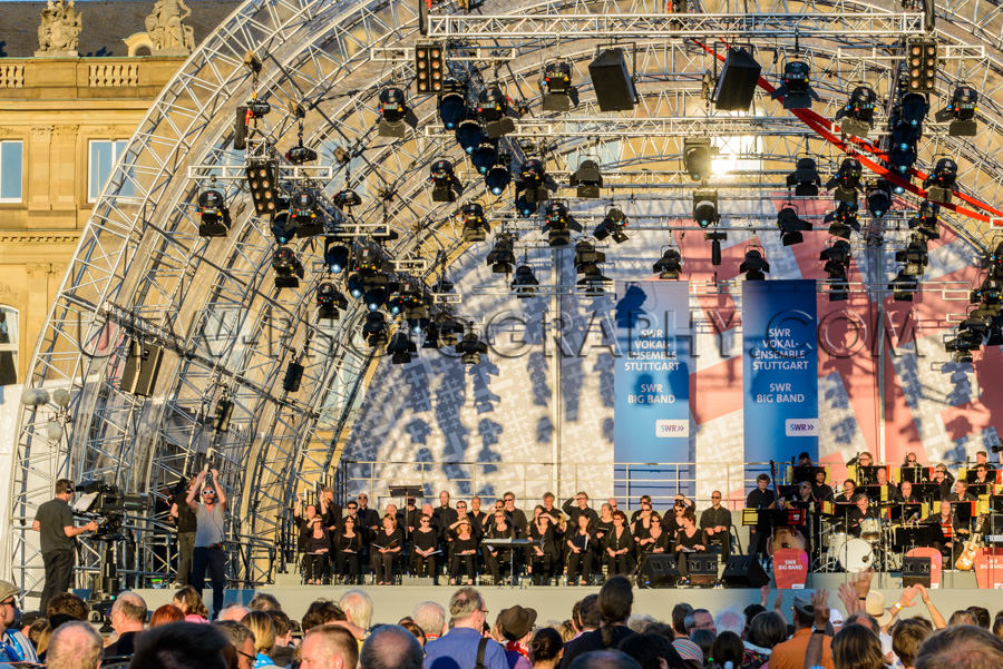 Musik Auftritt Orchester Im Freien Bühne Musiker Fernsehkamera