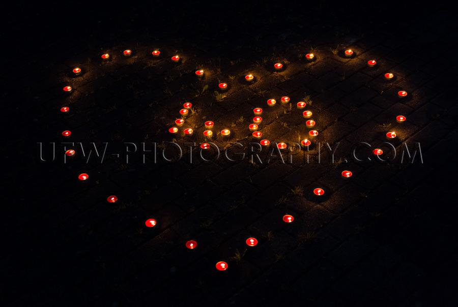 Brennen Teelichter Nacht Herzförmig Zahl 40 Geburtstag Feier St