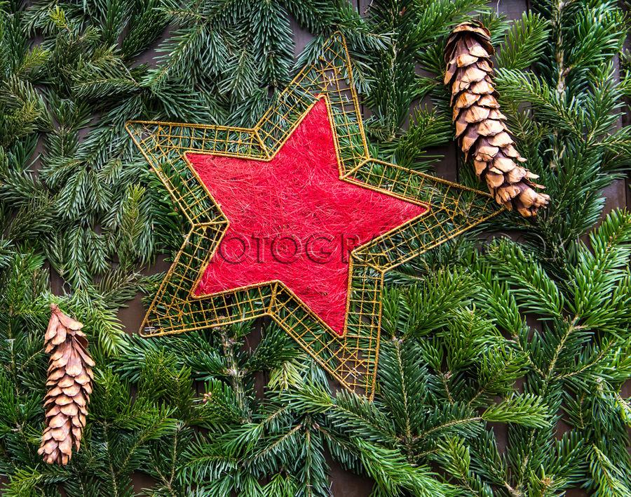 Weihnachten Dekoration Tanne Zweige Tannenzapfen Rot Goldene Ste