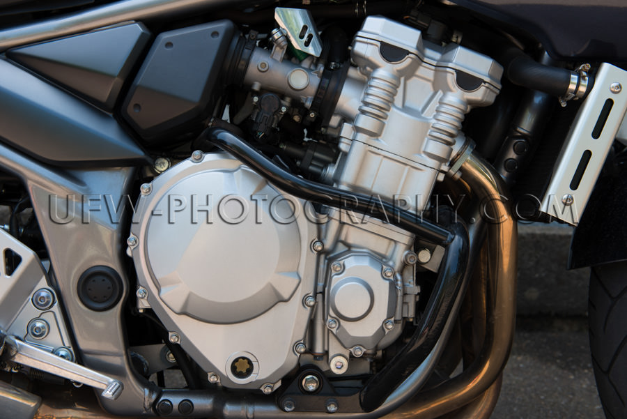 Motorrad Motor Details Sauber Glänzend Leistungsstark Nahaufnah
