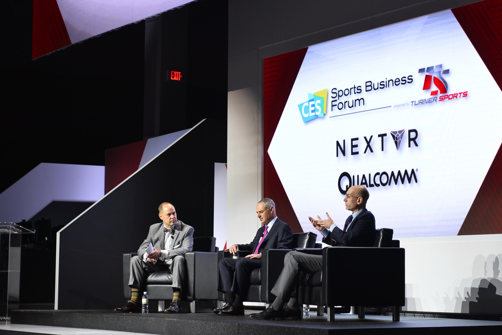 (L-R) Ernie Johnson, Turner Sports; Robert D. Manfred, Jr., Baseball Commissioner & Adam Silver, NBA Commissioner