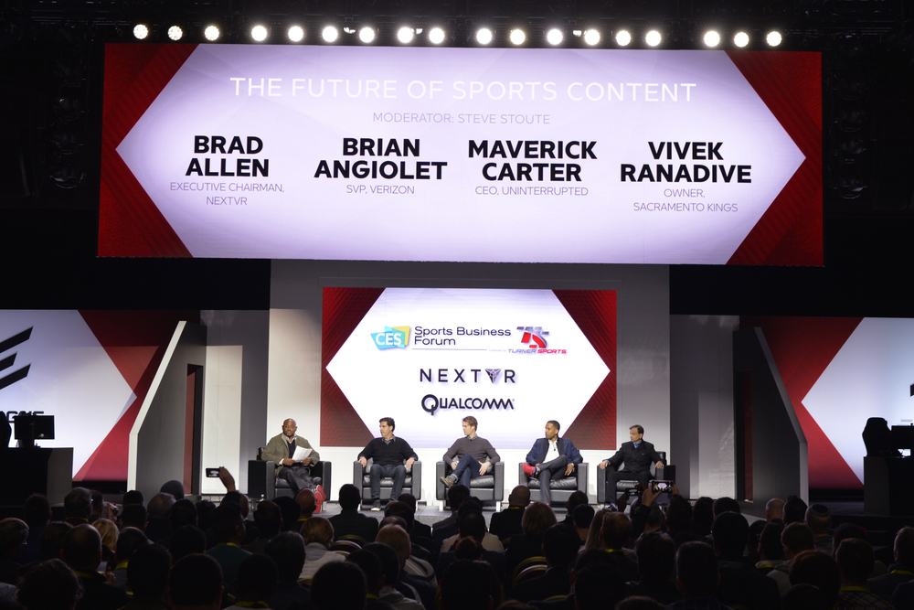 (L-R) Steve Stoute, CEO, Translation Agency; Brad Allen, Executive Chairman, NextVR; Brian Angiolet, SVP, Verizon; Maverick Carter, CEO,  Uninterrupted ; Vivek Ranadive, Owner, Sacramento Kings