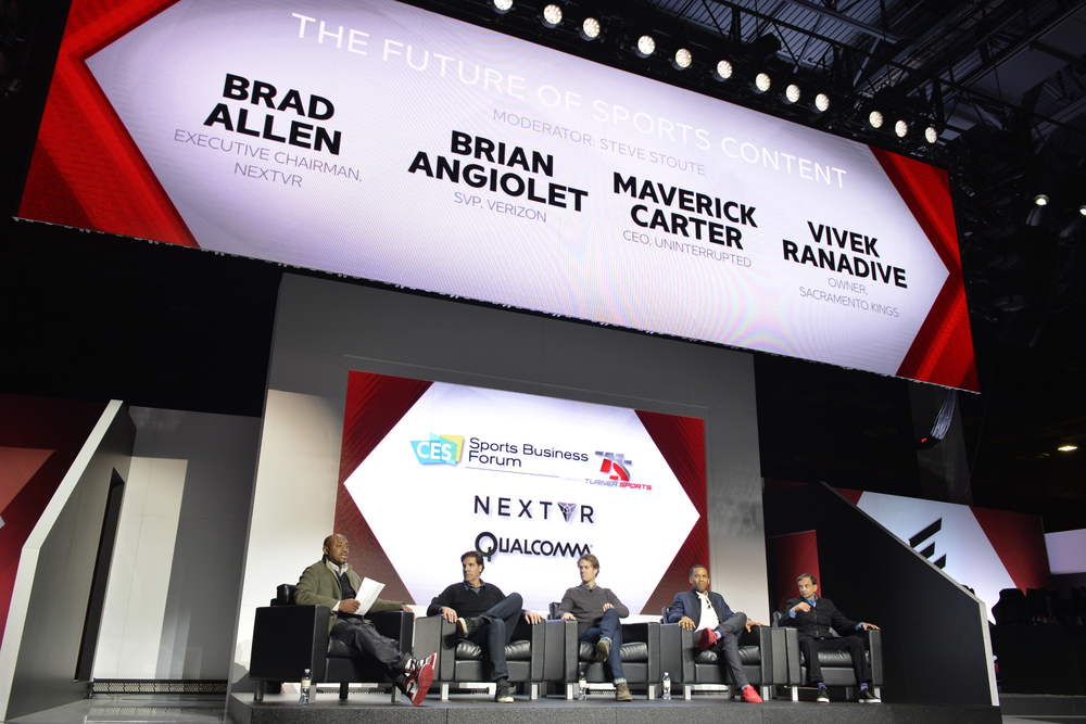 (L-R) Steve Stoute, CEO Translation Agency; Brad Allen, Executive Chairman, NextVR; Brian Angiolet, SVP, Verizon; Maverick Carter, CEO,  Uninterrupted ; Vivek Randadive, Owner, Sacramento Kings