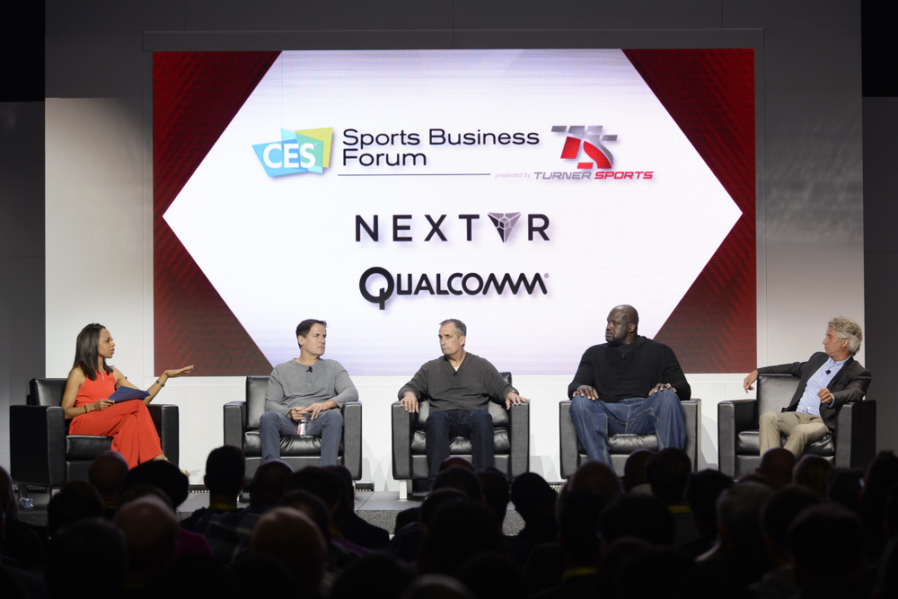 (L-R) Nischelle Turner, Entertainment Tonight/CNN, Mark Cuban, Owner, Dallas Mavericks; Brian Krzanich, CEO, Intel; Shaquille O'Neal, TNT Inside the NBA analyst; Joe Ravitch, Co-Founder, The Raine Group