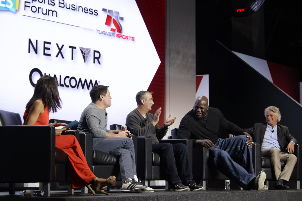 (L-R) Nischelle Turner, Entertainment Tonight/CNN, Mark Cuban, Owner, Dallas Mavericks; Brian Krzanich, CEO, Intel; Shaquille O'Neal, TNT Inside the NBA analyst; Joe Ravitch, Co-Founder, The Raine Group