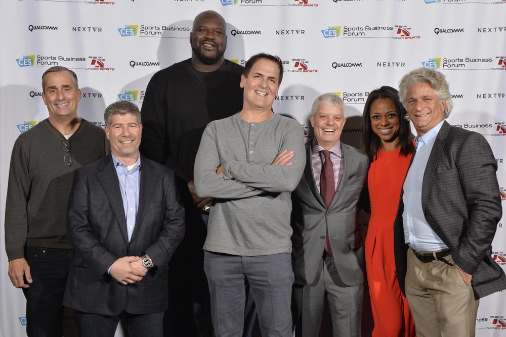 (L-R) Brian Krzanich, CEO, Intel; Lenny Daniels, President, Turner Sports; Shaquille O'Neal, TNT Inside the NBA analyst; Mark Cuban, Owner, Dallas Mavericks; David Levy, President, Turner; Nischelle Turner, Entertainment Tonight/CNN; Joe Ravitch, Co-Founder, The Raine Group