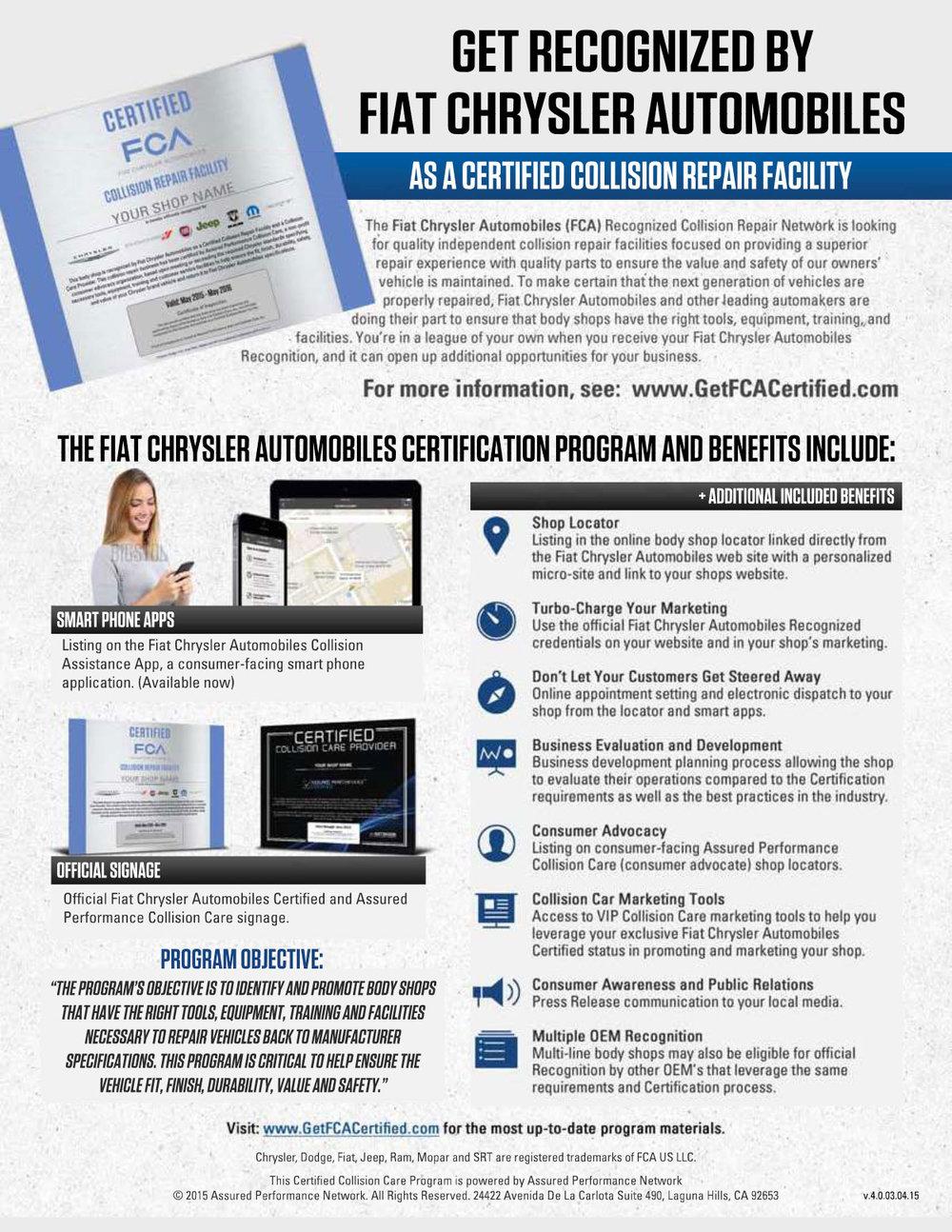 Chrysler Collision Certification Program 877 Nj Parts Auto Parts