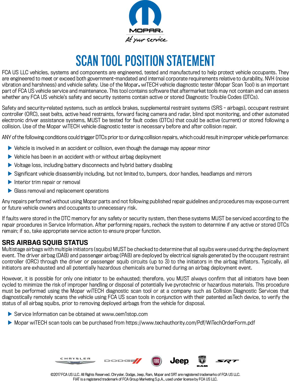 MOPAR: Scan Tool Position Statement — 877 NJ PARTS - Auto