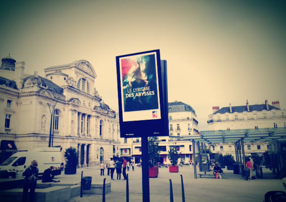 Christy Lee Rogers billboard for art exhibit at Angers Opera House, France