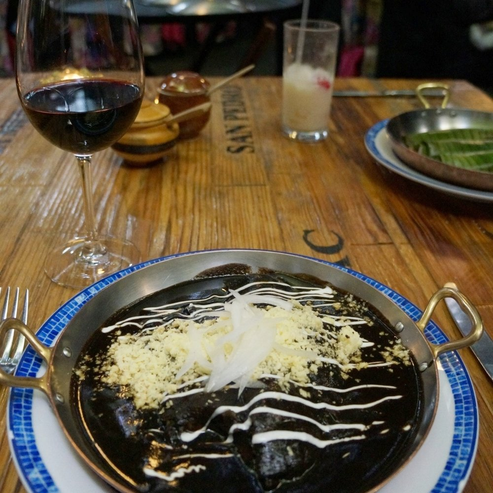 ENCHILADAS WITH MOLE SAUCE AT AZUL HISTORICO