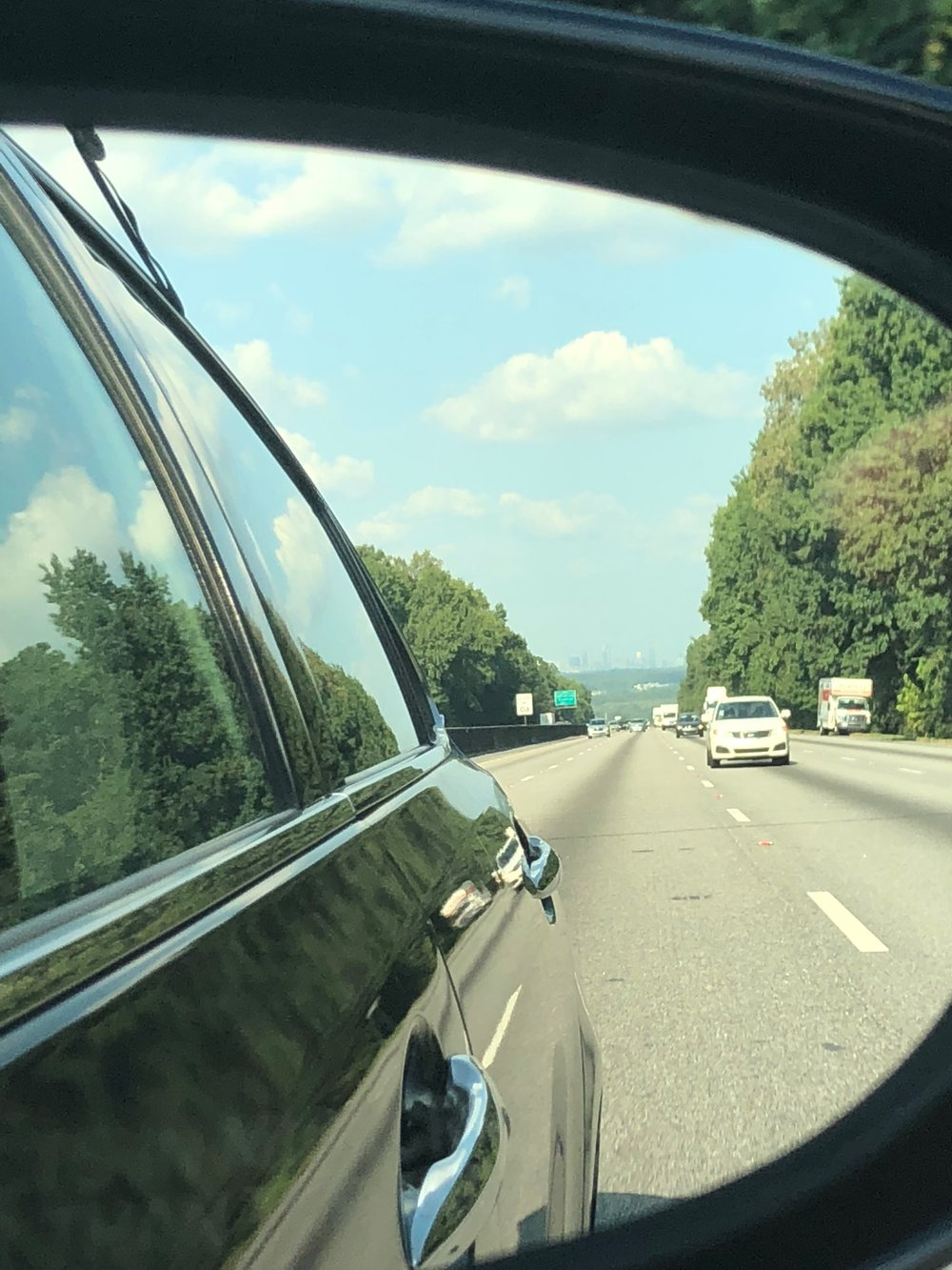 Saying goodbye to Atlanta, with its skyline in our rearview mirror.