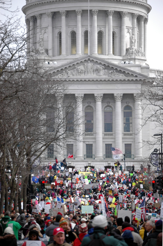50,000 protesters descend on the Wisconsin capital