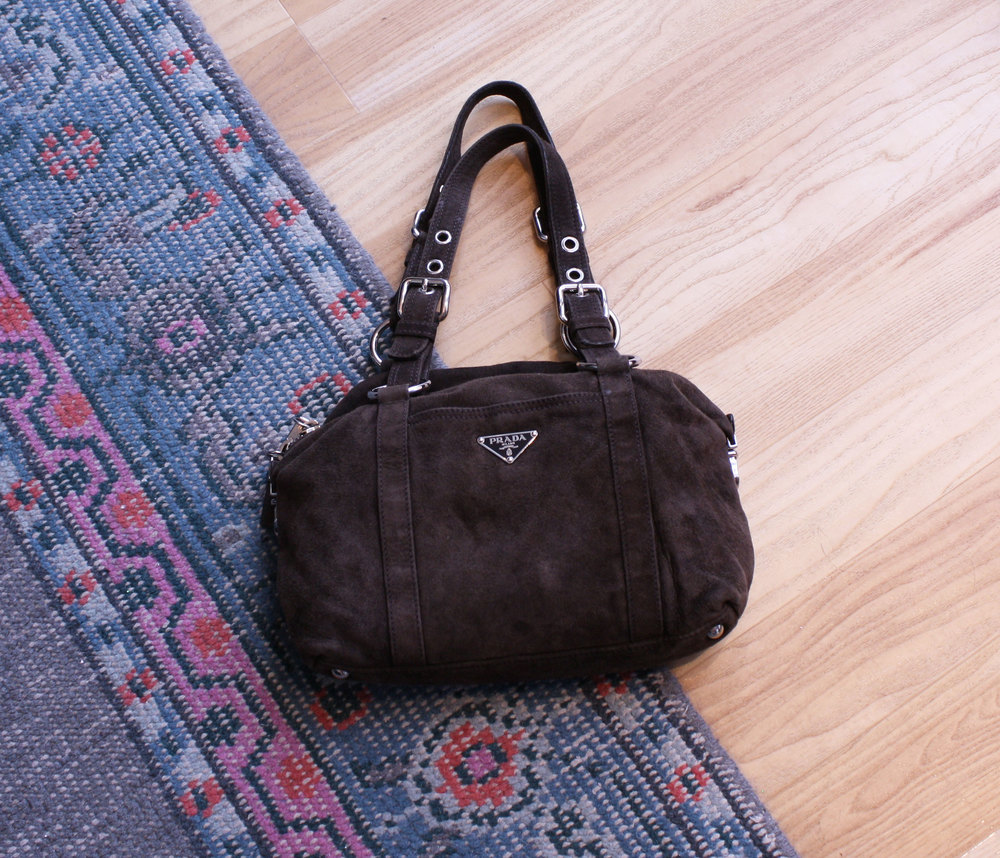a707828dc116 ... new zealand prada chocolate suede shoulder bag 24075 30d25