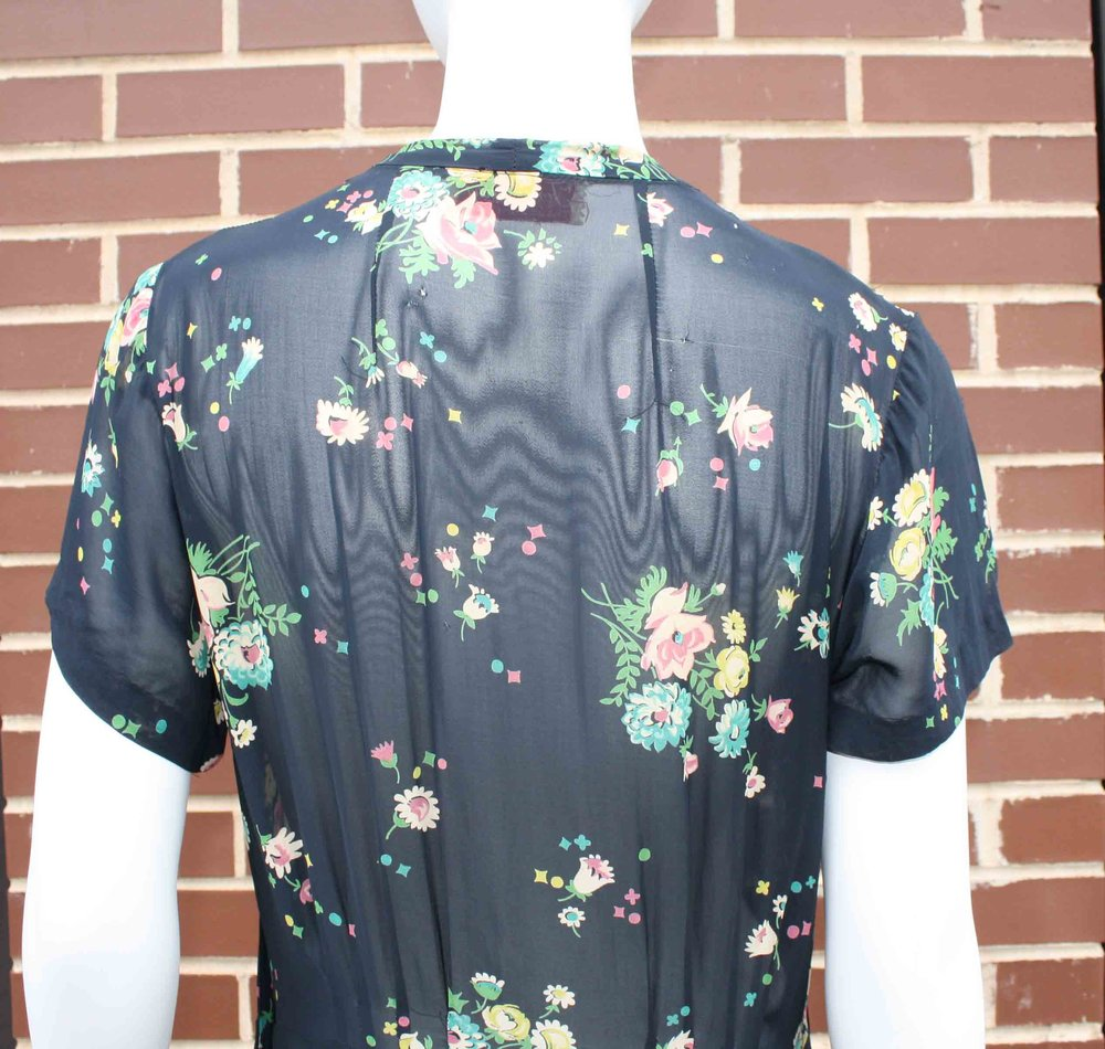 1930s Puritan Forever Young Floral Dress Phenix