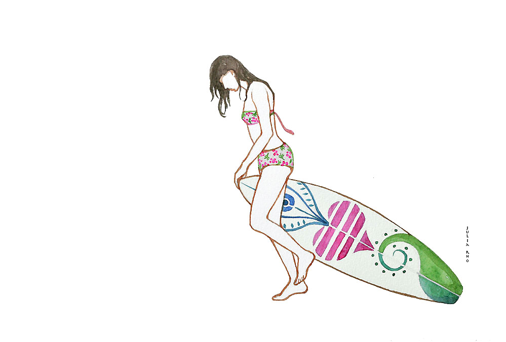 Surfing girl on the beach / watercolor.