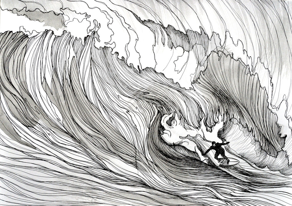 Surfing man riding monster wave in winter sea / ink pen.