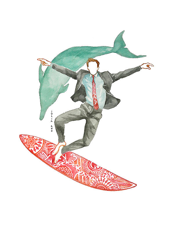 Surfing business man with dolphin / watercolor