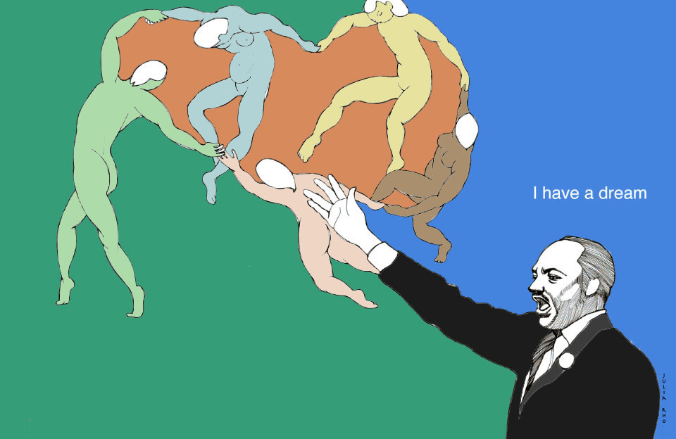 Martin Luther King / pen + digital color. I have a dream + dance of Matisse
