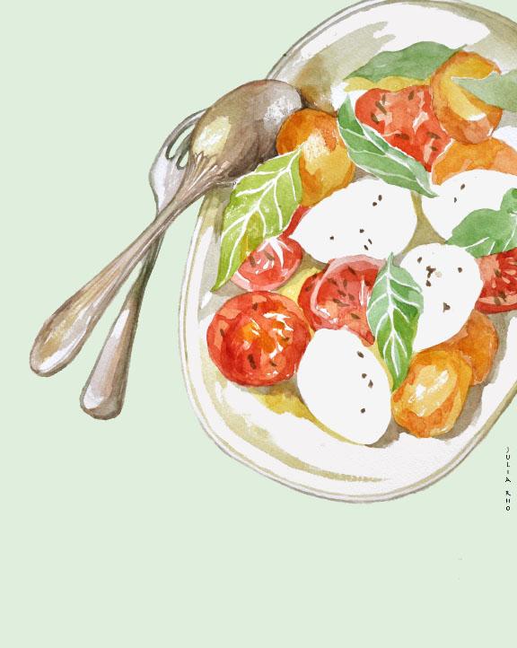 Tomato mozzarella slade dish / watercolor