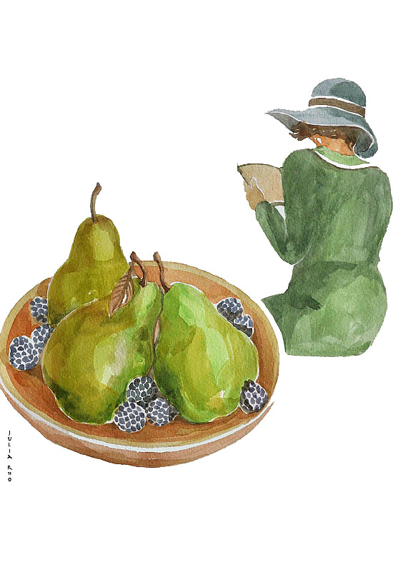 Pear and lady / watercolor