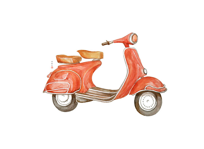 Red scooter / watercolor