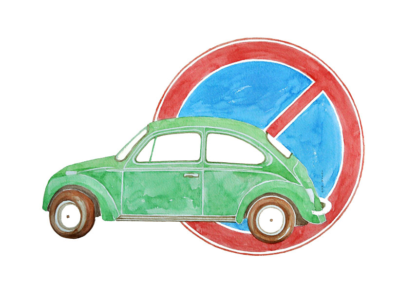 Green car / watercolor