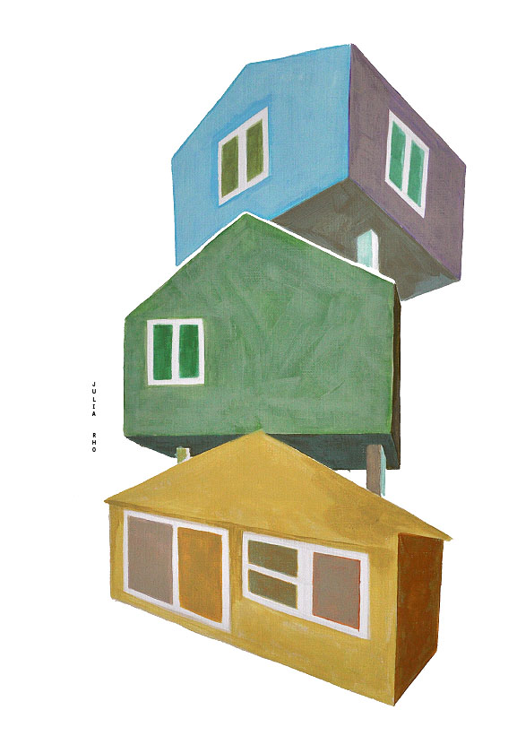 Three houses / acrylic