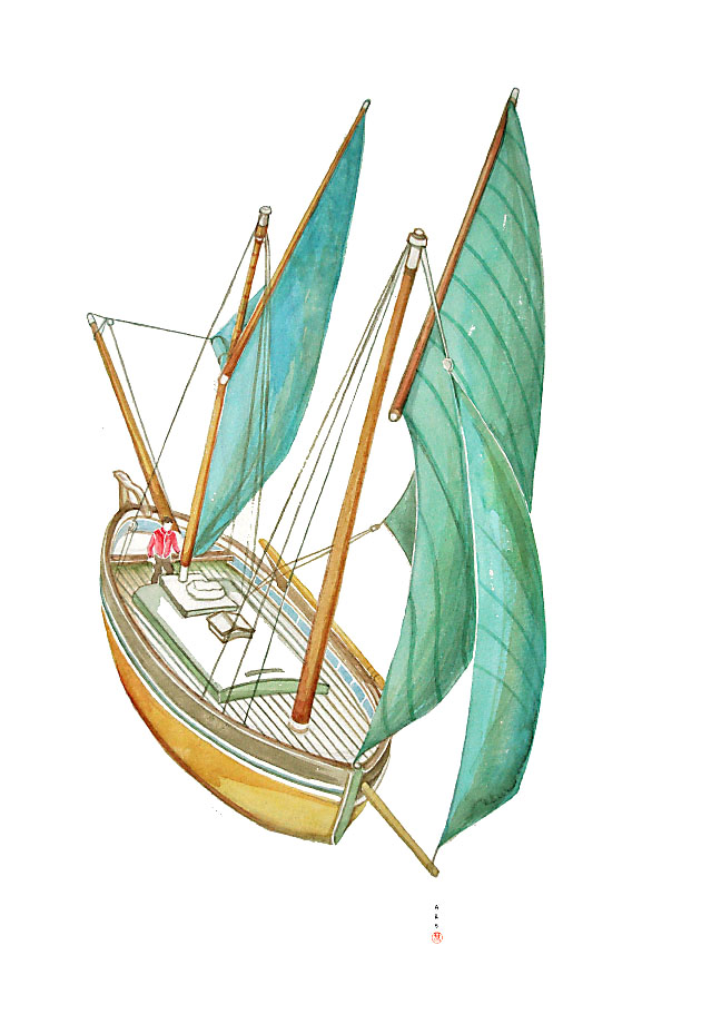 Sailing boat / watercolor