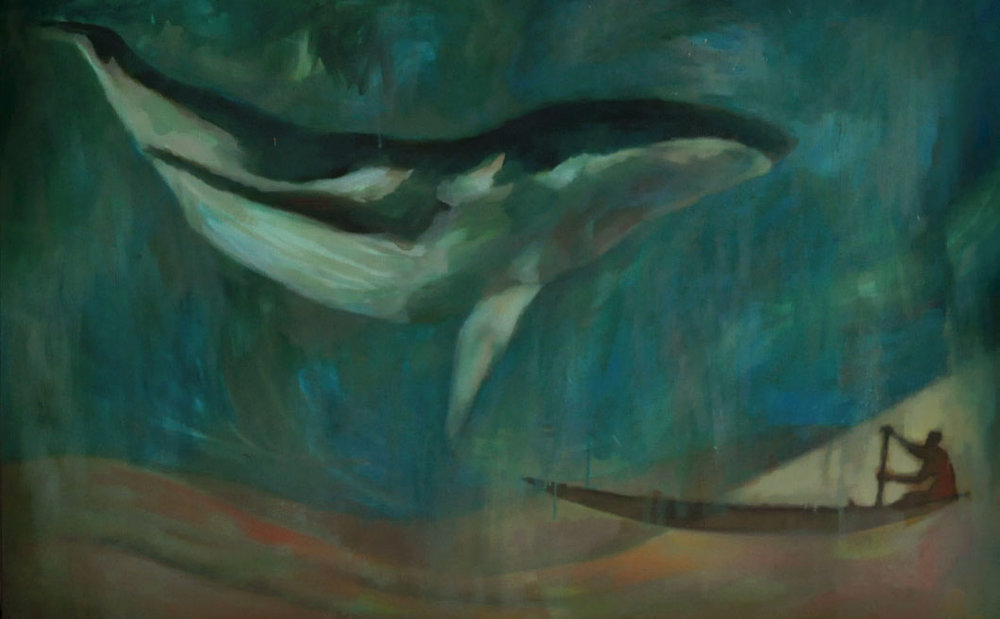 Dream of ribboned whale  When I had my first whale dream, I painted.