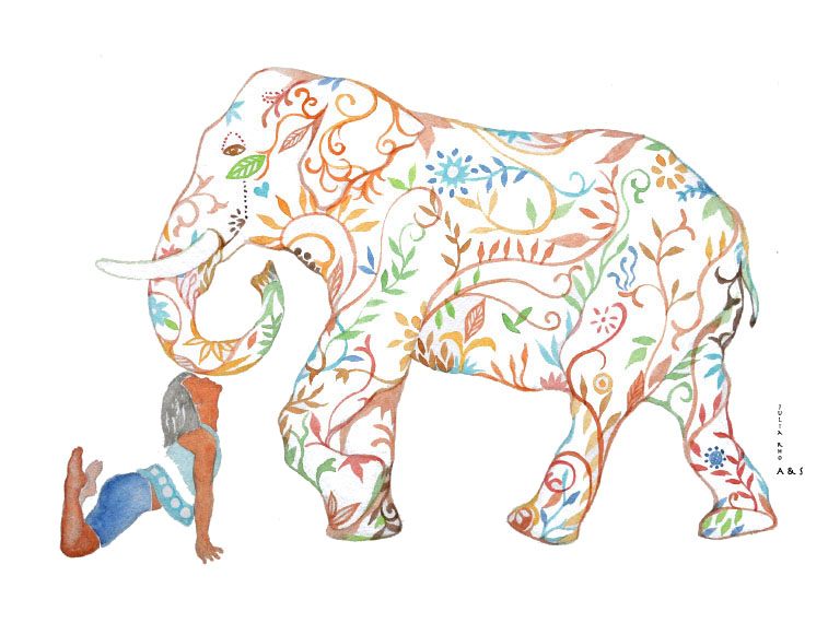 Friendly Elephant / watercolor