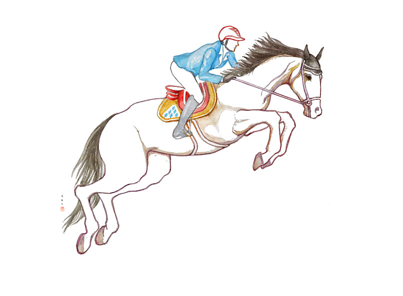 Jumping horse with blue shirt / watercolor