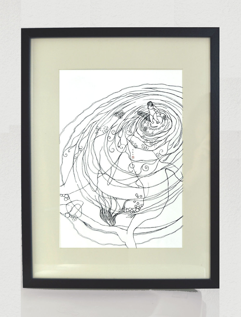 Are you Ready for Emotional world? / pen drawing in simple black frame.