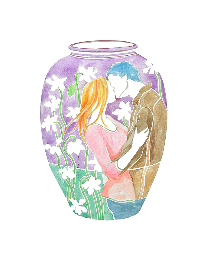 Time in a bottle for lovers / watercolor