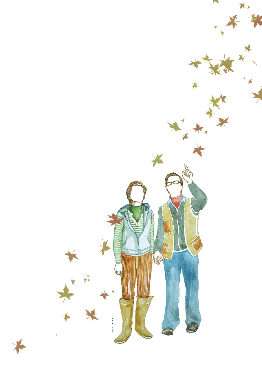 Middle age couple / watercolor + digital leaves